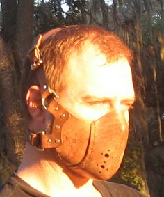 Distressed Leather Gas Mask Steampunk Riding Airsoft. $125.00, via Etsy.