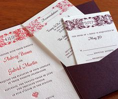 The purple pocket folder is the perfect addition to these traditional purple and pink wedding invitations.