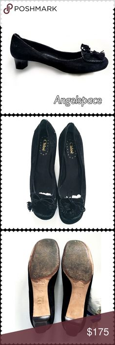 9b2569a5f69 Chloe Black Pump Chloe black suede low heel pump with ties and tussles.  Euro size US close to Gently worn.