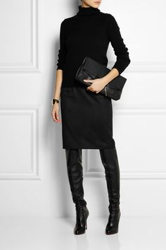 Black wool-twill Concealed zip fastening along back 100% wool; lining: 52% rayon, 48% cotton Dry clean