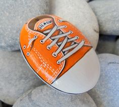 Orange Converse All Star Shoe Painted Pebble Is by RockArtAttack