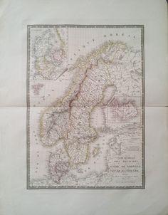 Carte Generale des Royaumes de Suede de Norwege et de Danemark 1825   Munk & Nunna   Antika Tryck