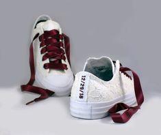 e74b6520b930 Custom Date Lace Bridal Converses -- Ivory Lace Wine Converse -- Wedding  Tennis shoes - Wedding Converse