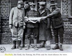 Lecture des nouvelles, fin de la première guerre mondiale. quelque part près de Cambrai.... de gauche à droite un soldat français, un américain, un anglais, un allemand et un australien ..... On préfère les voir comme ça, quelle connerie la guerre !!!