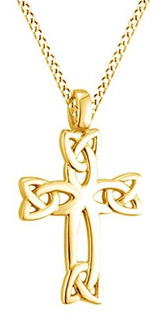 Celtic Cross Pendant Necklace 14k Yellow Gold Over Sterling Silver -- Check out this great product-affiliate link. #Necklaces