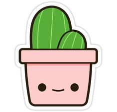 Easy Drawings Cactus in cute pot Sticker - Cactus in an adorable pot! Cute Easy Drawings, Cute Kawaii Drawings, Kawaii Doodles, Cute Doodles, Easy Animal Drawings, Cactus Stickers, Kawaii Stickers, Cute Stickers, Preppy Stickers