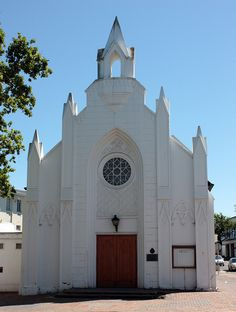 This Church building seen in the historic centre of Stellenbosch, South Africa is declared a heritage site. Old Time Religion, Cathedral Basilica, Dutch Colonial, Church Building, Place Of Worship, Romanesque, Mosques, Cathedrals, Heritage Site