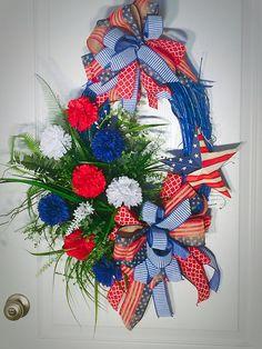 Patriotic Grapevine Wreath - Grapevine Wreath - Custom Blue - Metal Star - Handmade - Wreath - Door Hanger - Greenery - Mums Flowers - Bows