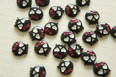 8 pcs Tiny Black Skull Cabochon (14mm) IK101 on Etsy, £2.43