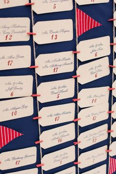 super cute escort card board by Pop The Champagne Events also see how they created this amazing 'nautical feel' wedding http://popthechampagneevents.com/