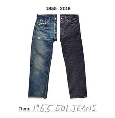 """Classic then and now. Reproduced stitch-for-stitch, our Levis Vintage Clothing 1955 501 Jeans are made at Cone Denim from 12 oz red selvedge, similar to the pair Marlon Brando wore in """"The Wild One."""""""