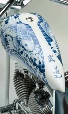 bikes and scooters. koi paint on bike tank ( now say it ten times fast ) #motorcycle