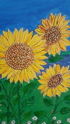 Close up of sunflower heads