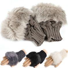 Gants chauds de soutiens-gorge Fingerless gants tricotés fourrure garniture gants mitaine