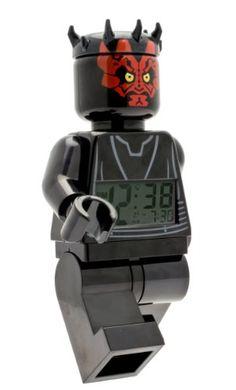 LEGO 9005596 Star Wars Darth Maul Minifigure Clock. Darth Maul minifigure clock featuring digital LCD display with alarm, light, and snooze function. toys4mykids.com