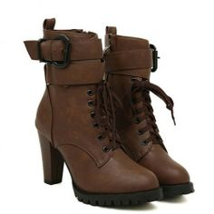 Retro Knight Solid Color Lace-up Strap Buckle High-heeled Booties