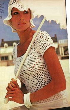 Crochet TOP Pattern Vintage Filet Crochet Blouse by Liloumariposa