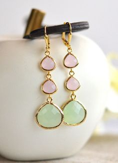 Light Mint and Soft Pink Long Jewel Earrings in Gold. by RusticGem