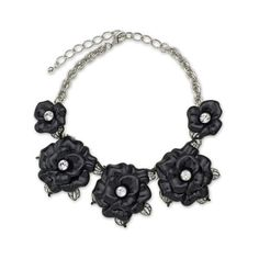 Kenneth Jay Lane Black Graduating Flower Necklace ($300) ❤ liked on Polyvore featuring jewelry, necklaces, black, adjustable chain necklace, flower jewellery, leaf necklace, chains jewelry and graduation jewelry