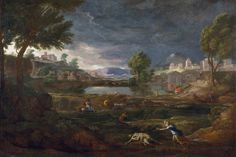 Nicolas Poussin, Gewitterlandschaft mit Pyramus und Thisbe (Landscape during a thunderstorm with Pyramus and Thisbe) Art Du Temps, Poussin Nicolas, Städel Museum, Oil On Canvas, Canvas Art, Romeo Y Julieta, Art Français, Art History, Canvases