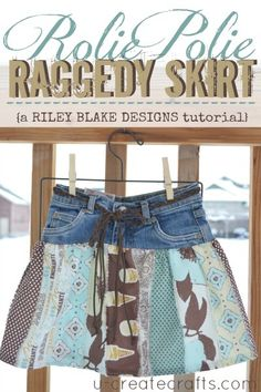 Rolie Polie Raggedy Skirt Tutorial- Now there's a great use for those ripped up/stained jeans/too short jeans!
