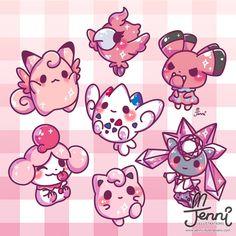 """3,408 Me gusta, 28 comentarios - J E N N I (@jennillustrations) en Instagram: """"Drew some fairy type Pokemon ( *˙︶˙*)ノ . . . #fairypokemon #fairy #clefable #jigglypuff…"""""""