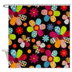 Quilt Flowers Shower Curtain on CafePress.com