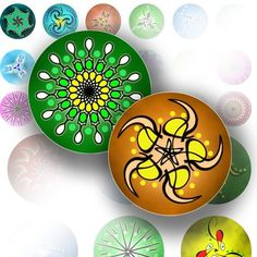 Bottle cap images 1 inch circles art digital collage sheet jewelry making paper supplies Spirograph abstract flower
