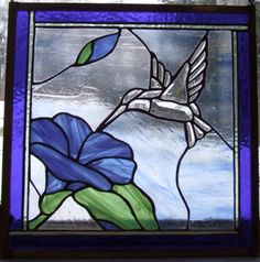 Bevelled Hummingbird and Flower - Stained Glass - Flying Monkey Studio