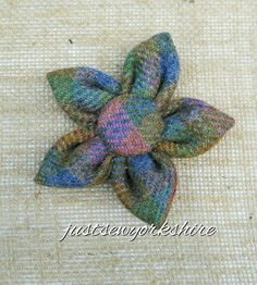 Handmade Harris Tweed Fabric Flower Brooch ideal to add to Coat, Hat and Bag…