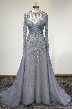 Blue Lace Customized O-Neck Women Evening Dress, Long Sleeve Senior Prom Dress Long Sleeve Evening Dresses, Evening Gowns, Dress Long, Ball Dresses, Ball Gowns, Formal Dresses, Pretty Dresses, Beautiful Dresses, Senior Prom Dresses