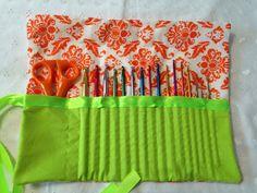 Crochet Hook Case Damask Orange and Lime on Etsy, $20.00
