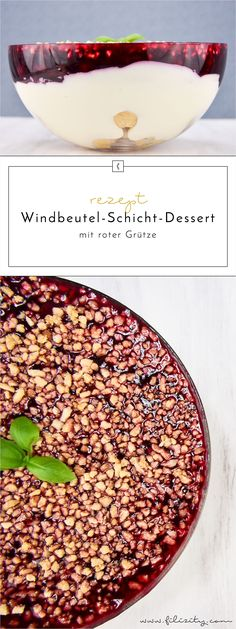 Cream puff layer dessert with red fruit jelly- Windbeutel-Schicht-Dessert mit roter Grütze Summer Recipe: Profiterole Layer Dessert with Red Grits - Jelly Desserts, Layered Desserts, Profiteroles, Healthy Dessert Recipes, Cake Recipes, Spaghetti Eis Dessert, Dessert Aux Fruits, Snacks Für Party, Dessert Party