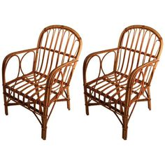 Pair of Bamboo Chairs | From a unique collection of antique and modern armchairs at https://www.1stdibs.com/furniture/seating/armchairs/