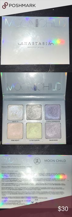 Anastasia Beverly Hills Moonchild Glow Kit (I have used all the colors once and swatched them but the quality is the same as new) Metallic Duo chrome/colorful highlighters for intense luminosity 4.2g for each pan (I don't have the sleeve for it) Anastasia Beverly Hills Makeup Luminizer