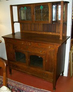 Arts and Crafts Mission Sideboard with Leaded Stained Glass Windows