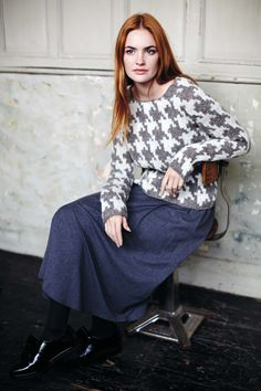 People Tree Houndstooth jumper - Hand knitted grey houndstooth jumper in 100% wool   £99.00