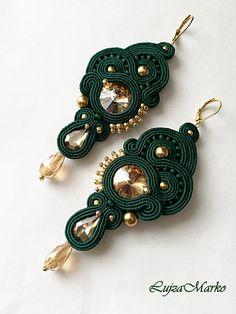Green Earrings, Diy Earrings, Teardrop Earrings, Fabric Jewelry, Beaded Jewelry, Handmade Necklaces, Handmade Jewelry, Soutache Tutorial, Soutache Necklace