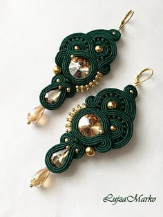 Dark green&gold elegant soutache earring