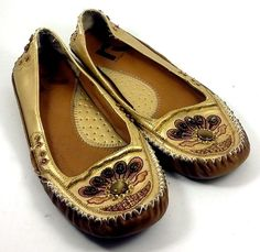 "REPORT SEATTLE Shoes ~ Women's Gold ""Azmer"" Moccasins Slides Ballet Flats ~ 6 M…"