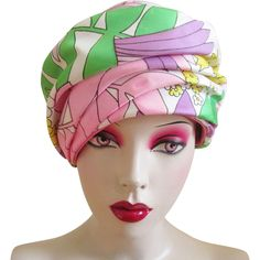 Cloche Hat Floral Satin Vintage 1960s Hutzlers of Baltimore Union Made - Offered by Vanity Flair Vintage on Ruby Lane