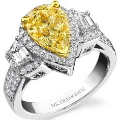 18k Yellow Gold Trapezoid and Pear Shaped Fancy Yellow Diamond Ring