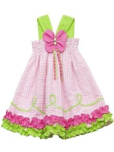 Rare Editions Girls 2T-6x Pink Lime Butterfly Applique Halter Seersucker Dress - Price: $23.95