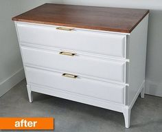 this is exactly how i want my sewing desk to look! stained top, white drawers, and gold hardware.