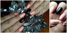 Walentynkowo <3 * Drugie zdjęcie: stempelek i 5-cio dniowy odrost ;) #nails #paznokcie #semilac #hearts #serca #walentynki #valentinesday #black #peach #stamping #stempelki