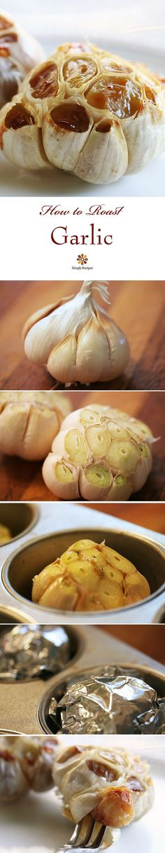Roasted Garlic ~ How to roast whole heads of garlic in the oven so you can eat warm, toasty cloves right out of the garlic head. From SimplyRecipes.com
