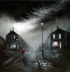 Bob Barker Art : Chips and Gravy Norman Cornish, Art After Dark, Cool Easy Drawings, Industrial Paintings, Nostalgic Art, Train Art, Landscape Drawings, House Painting, Cool Artwork