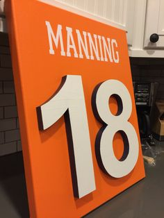 Denver Broncos Canvas jersey wall art with 3D wood numbers