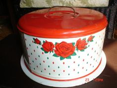 Vintage Red White with Roses Cake Saver Carrier | eBay