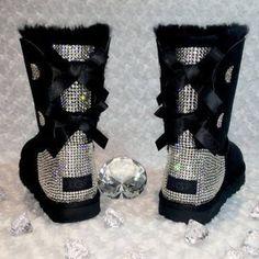 Bling Ugg Bailey Bow, Women's Custom Black Ugg Boots Swarovski Crystal Bling Australian Fur Boots, S Ugg Style Boots, Bow Boots, Sheepskin Boots, Boot Bling, Bling Shoes, Vegan Boots, Custom Boots, Bailey Bow, Zapatos